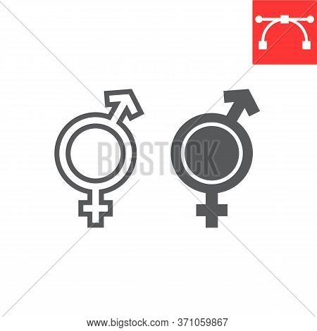 Transgender Line And Glyph Icon, Lgbt And Transsexual, Bisexual Sign Vector Graphics, Editable Strok