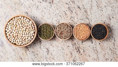 Various Assortment Of Legumes - Beans, Chickpeas, Lentils, Black  And Green Orid Dal. Vegetable Prot