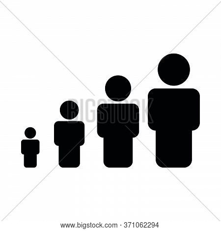 Icon Of Children To Old Age, Aging, People. Design Template Vector