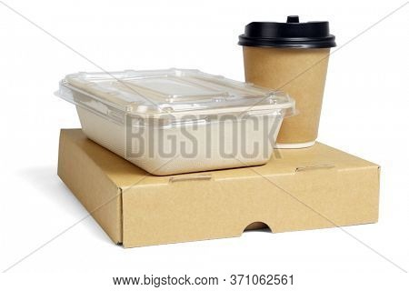 Coffee Cup and Food Boxes on White Background