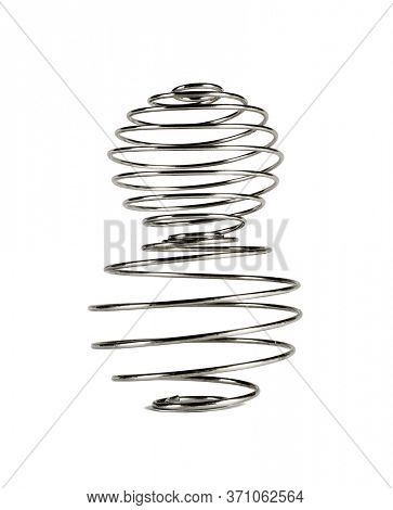Two Metal Wire Shaker Balls Stacked on White background