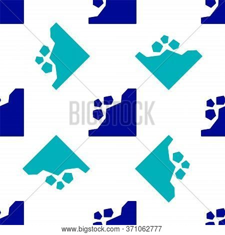 Blue Landslide Icon Isolated Seamless Pattern On White Background. Stones Fall From The Rock. Boulde