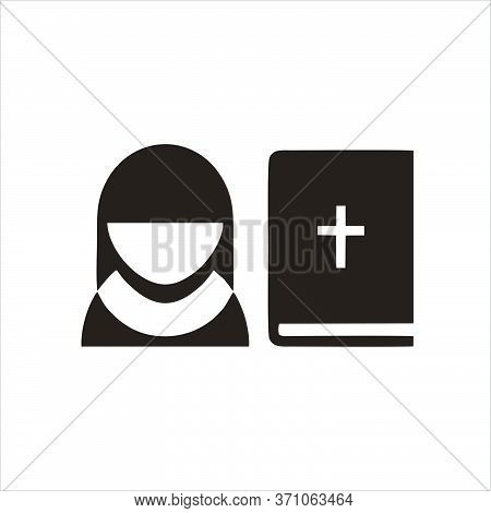 Bible Icon. Bible Icon Vector Flat Illustration For Graphic And Web Design Isolated On Black Backgro