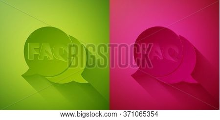 Paper Cut Speech Bubble With Text Faq Information Icon Isolated On Green And Pink Background. Circle