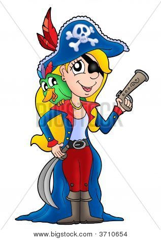 Pirate woman with colorful parrot - color illustration. poster