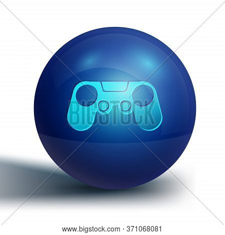 Blue Gamepad Icon Isolated On White Background. Game Controller. Blue Circle Button. Vector Illustra