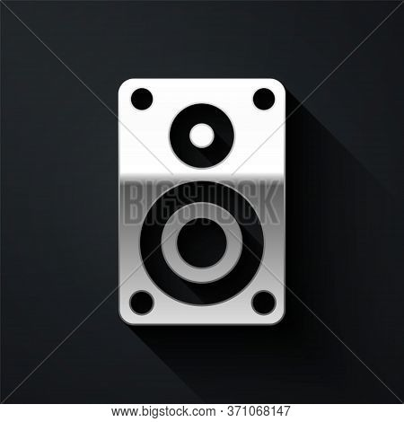 Silver Stereo Speaker Icon Isolated On Black Background. Sound System Speakers. Music Icon. Musical