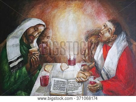 OBERSTAUFEN, GERMANY - OCTOBER 19, 2014: Supper at Emmaus by Sieger Koder, detail of altar in Chapel in Oberstaufen, Germany