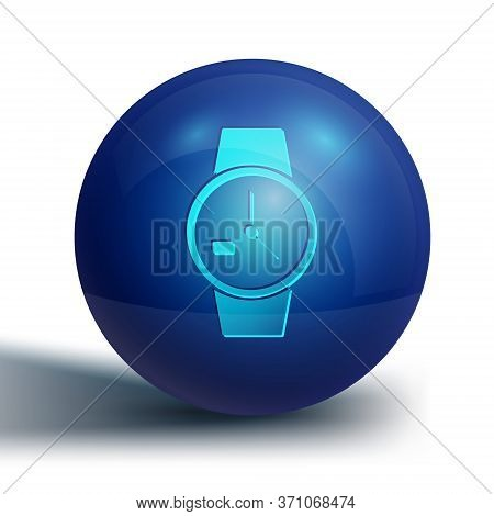 Blue Wrist Watch Icon Isolated On White Background. Wristwatch Icon. Blue Circle Button. Vector Illu