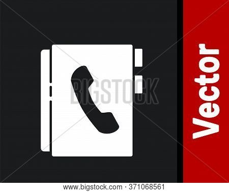 White Address Book Icon Isolated On Black Background. Notebook, Address, Contact, Directory, Phone,