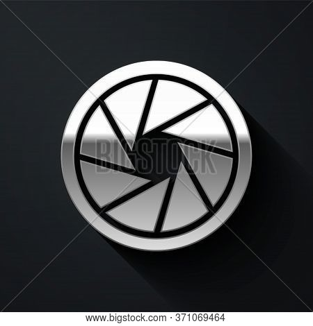 Silver Camera Shutter Icon Isolated On Black Background. Long Shadow Style. Vector Illustration