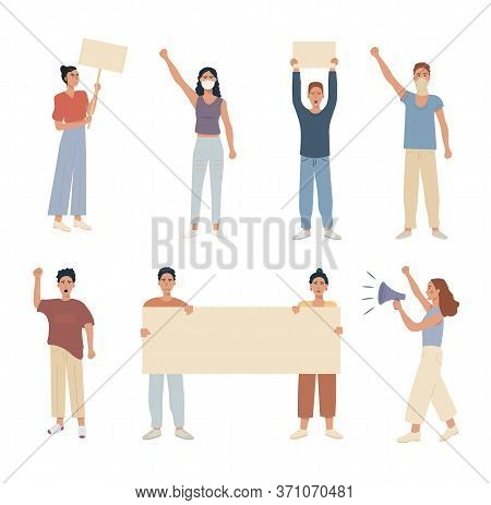 Set Of Caucasian Modern People Protesting. Holding A Placard Banner. Speaking In Megaphone. Collecti