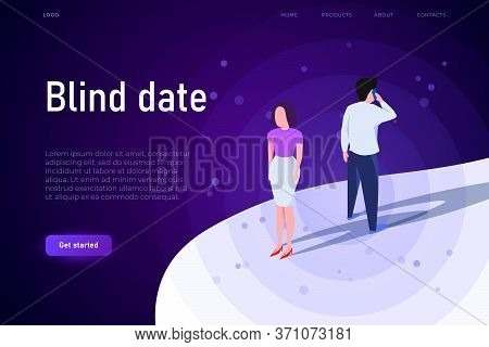 Two People Meets On Blind Date, Blind Date Illustration Concept.