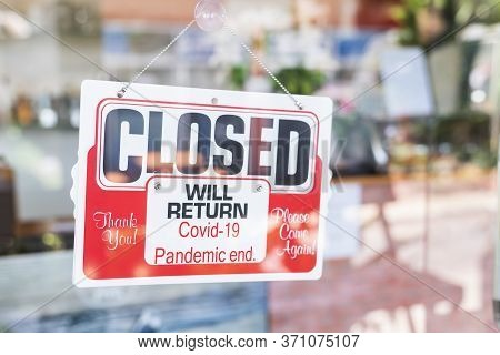 Red Closed Sign On Door Entrance Cafe Restaurant Or Business Office Store Is Closed Due To The Effec