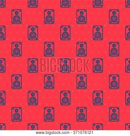 Blue Line Stereo Speaker Icon Isolated Seamless Pattern On Red Background. Sound System Speakers. Mu