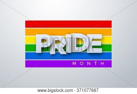 Lgbtq Pride Month. Vector Illustration. White Paper Label On Rainbow Flag Background. Human Rights O