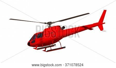Red Helicopter Isolated On White. Photo With Clipping Path.