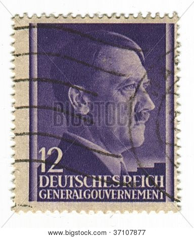 GERMANY - CIRCA 1943: A stamp printed in Germany shows image of Adolf Hitler was an Austrian-born German politician and the leader of the Nazi Party, in lilac, circa 1943.