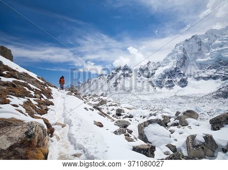 Khumbu, Nepal - March 17, 2010: Road To Everest Base Camp In Khumbu Valley And Himalaya Mountain Lan