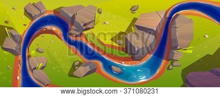 Flowing River Top View. Vector Background Of Nature Landscape With Blue Water Stream, Green Grass An