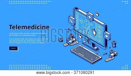 Telemedicine Isometric Landing Page. Distance Online Medicine Service, Computer Application, Pc Desk