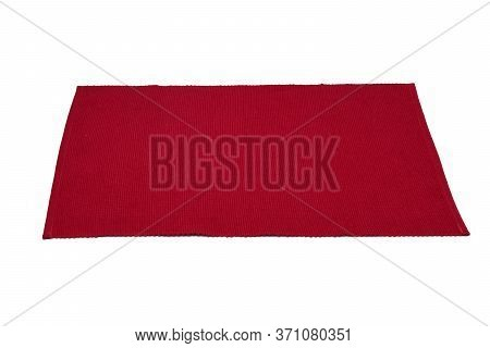 Red Cotton Placemat Isolated On White Background