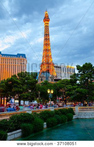 LAS VEGAS - AUGUST 12: Paris Las Vegas on August 12, 2012. It includes a half scale, 541 foot (164.6 m) replica of Eiffel Tower. Paris cost $785 million to build and opened September 1, 1999.