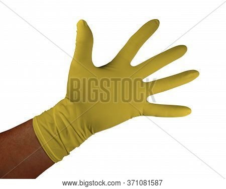 Yellow Medical Rubber Gloves, Isolated On White Background. Clipping Path Included.