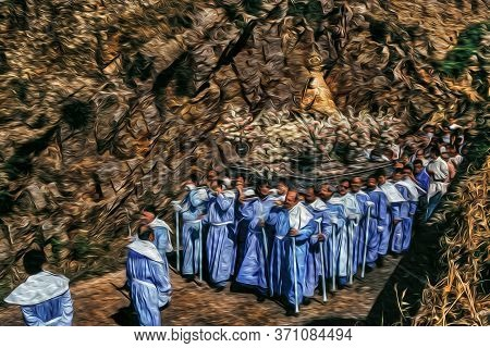 Caceres, Spain - May 04, 1997. Religious Procession With Devotees Carrying The Statue Of Our Lady In