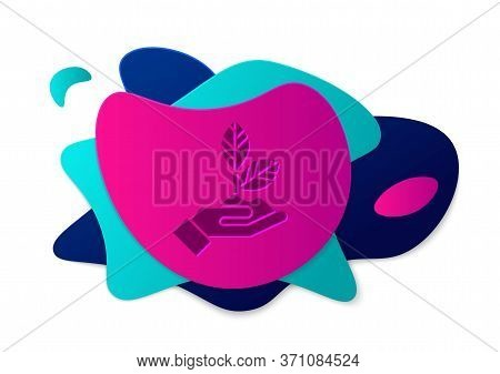 Color Plant In Hand Of Environmental Protection Icon Isolated On White Background. Seed And Seedling