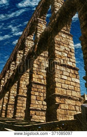 Roman Aqueduct Of Segovia, One Of The Best-preserved Elevated Ancient Aqueducts And The Foremost Sym
