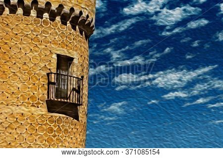 Detail Of Balcony And Door On Tower With Quaint Decoration, In A Sunny Day At The Alcazar Of Segovia