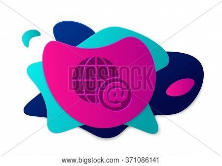 Color Earth Globe With Mail And E-mail Icon Isolated On White Background. Envelope Symbol E-mail. Em
