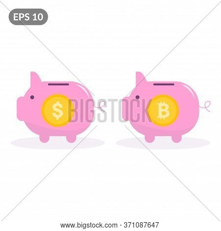 Bitcoin Piggy Bank And Dollar Piggy Bank. The Concept Of Profitability Of Currency And Cryptocurrenc