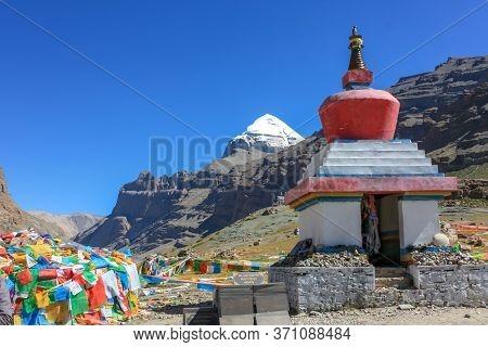 Beginning Of Trekking Kora Around Mountain Kailash Day 1 Pilgrimage Route Near Darchen, Tibet, Asia