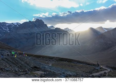 End Of Day 1 Trekking Kora Around Mountain Kailash Sunset View Pilgrimage Route Near Darchen, Tibet,
