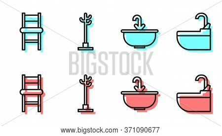 Set Line Washbasin With Water Tap, Chair, Coat Stand And Washbasin With Water Tap Icon. Vector