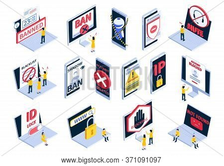 Isometric Internet Blocking Banned Website Icon Set With Account Blocked Not Found Shadow Ban Blackl