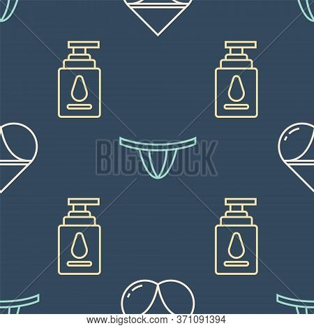 Set Line Woman Panties, Personal Lubricant And Woman Panties On Seamless Pattern. Vector