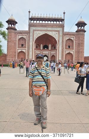 Agra, Uttar Pradesh, India, 19th August, 2018: An Indian Men Posing In Front Of  Main Entrance Gate