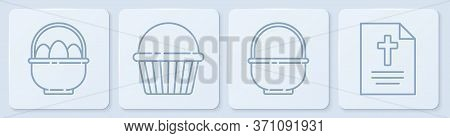 Set Line Basket With Easter Eggs, Basket, Easter Cake And Greeting Card With Happy Easter. White Squ