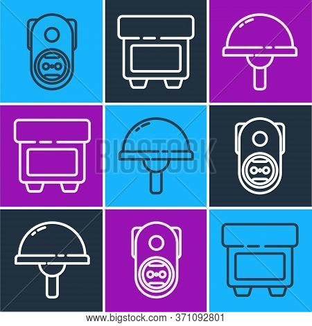 Set Line Electrical Outlet, Light Emitting Diode And Fuse Icon. Vector