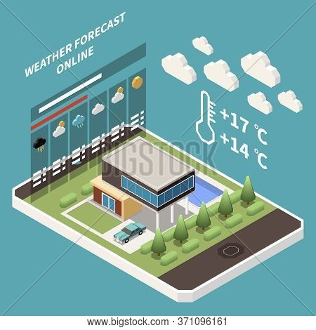Weather Forecast Isometric Concept With Weather Forecast And Meteorology Symbols Vector Illustration