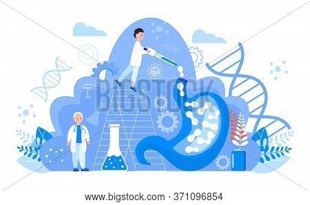 Gastroenterology Concept Vector. Stomach Doctors Examine, Treat Dysbiosis. Tiny Gastroenterologist L