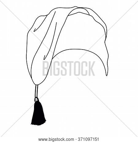 Vector Stock Illustration Of A Nightcap. The Headdress Is Made In Doodle Style. A Simple Freehand Dr