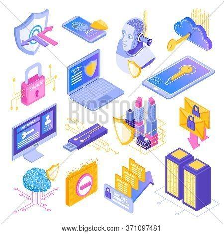 Cyber Security Data Protection Isometric Symbols Set With Padlock Shields Smartphone Screen Key Lock