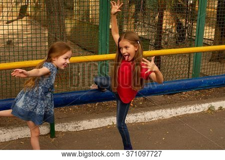 Two Baby Girls At The Zoo. Two Little Girls In The Zoo In The Summer Feed And Look At Different Anim
