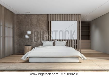Interior Of Modern Loft Bedroom With Beige And Gray Walls, Wooden Floor, Comfortable King Size Bed,