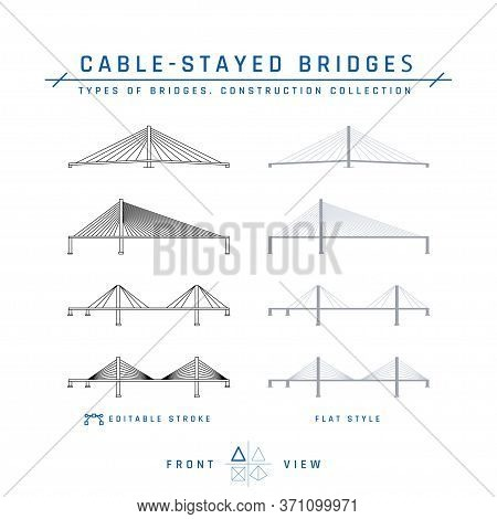 Cable-stayed Bridges Icons In Flat Style, Vector