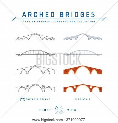 Arched Bridges Icons In Flat Style, Vector